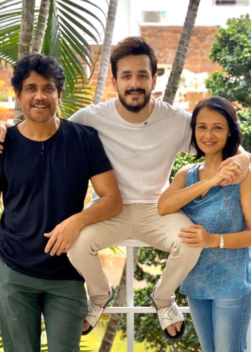 Akhil Akkineni, with his parents, as seen in April 2020