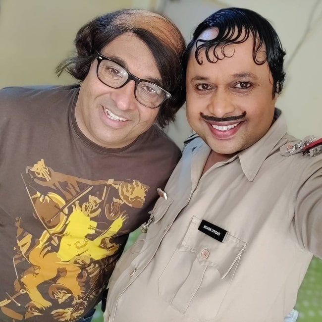 Anup Upadhyay (Left) as seen while smiling in a selfie alongside Yogesh Tripathi in August 2020