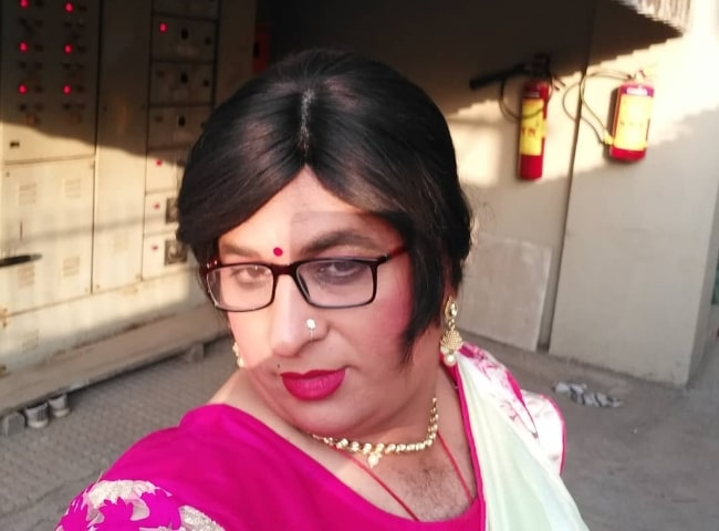 Anup Upadhyay taking a selfie while dressed as a woman in February 2018