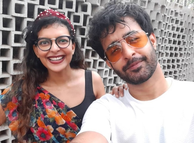 Bidita Bag smiling in a selfie along with Satyajeet Dubey in December 2020