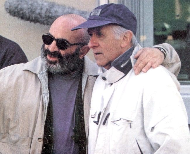 Bob Hoskins (Left) as seen alongside Freddie Francis on location in Montreal for 'Rainbow' in November 2007