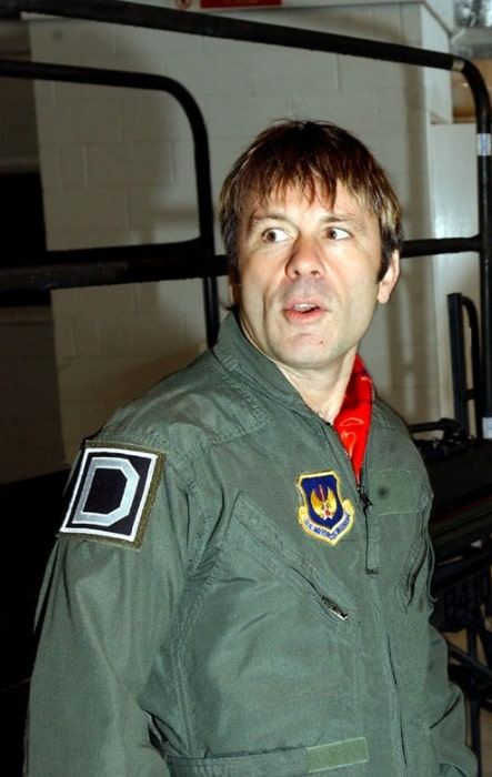 Bruce Dickinson pictured in pilot outfit during the filming of a five-part series for the Discovery Channel titled 'Flying Heavy Metal'