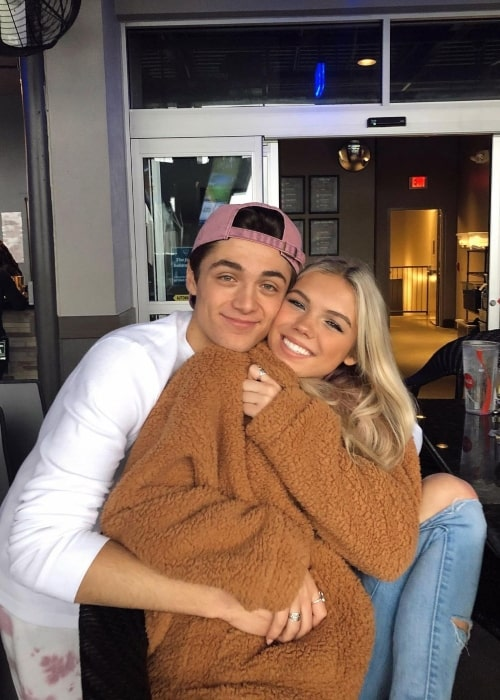 Caroline Gregory and her boyfriend actor Asher Angel in a picture that was taken in January 2021