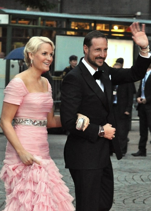 Crown Princess Mette-Marit and Crown Prince Haakon in 2010 at the wedding of Victoria, Crown Princess of Sweden, and Daniel Westling