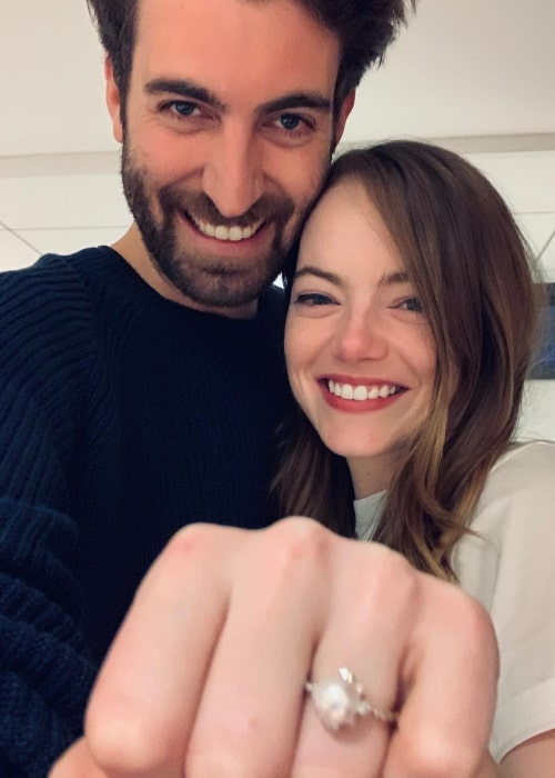Dave McCary and Emma Stone, as seen in December 2019