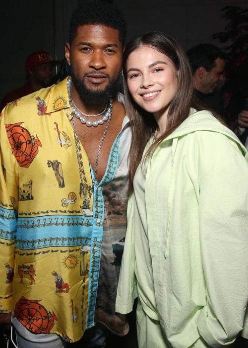 Destiny Rogers and Usher at an event in January 2020
