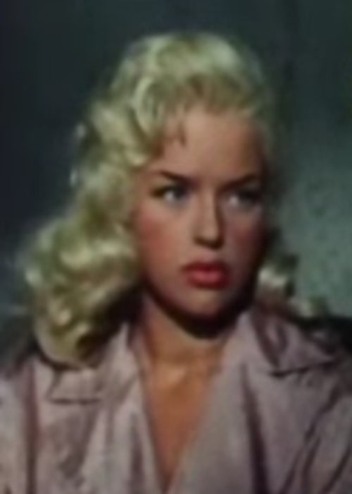 Diana Dors as seen in a cropped screenshot from the trailer for the film 'The Unholy Wife'