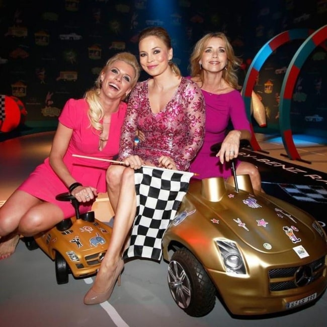 Eva Habermann as seen in a picture with actress Tina Ruland and Regina Halmich in August 2020