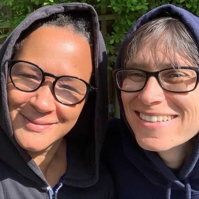 Golda Rosheuvel with her partner in May 2020 enjoying a wonderful birthday
