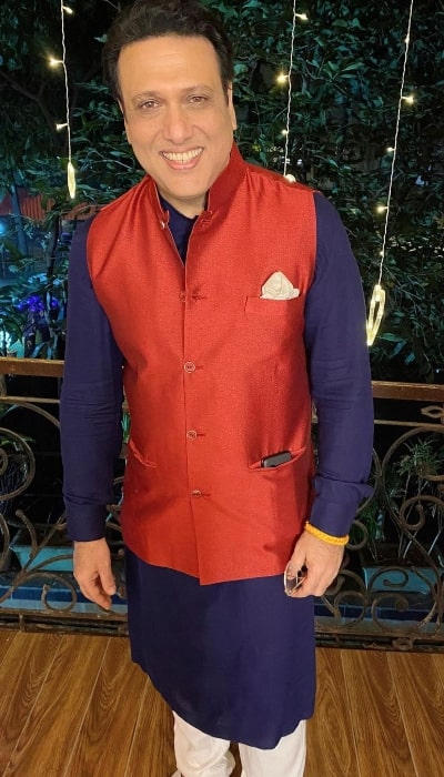 Govinda as seen while posing for a Diwali picture in November 2020