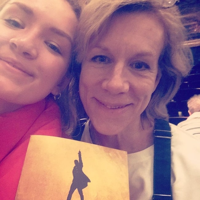 Juliet Stevenson as seen in a selfie that was taken with her daughter Rosalind Brody at the Victoria Palace Theatre in February 2019
