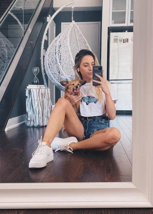 Kalyn Nicholson as seen in a selfie that was taken in July 2020, with her dog Bentley