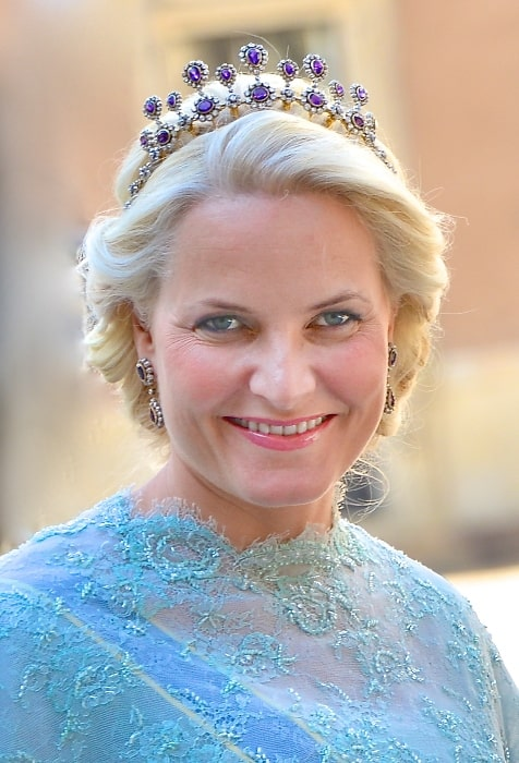 Mette-Marit, Crown Princess of Norway on the way to the castle church at the Royal Palace in Stockholm before the wedding between Princess Madeleine and Christopher O'Neill on June 8, 2013