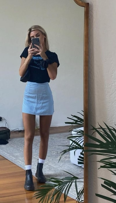 Paige Lorenze as seen while taking a mirror selfie in West Hollywood, California in October 2020