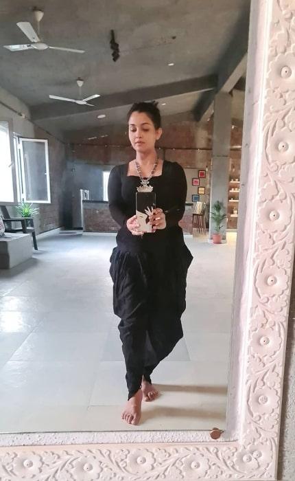 Shubhangi Atre as seen while taking a mirror selfie in November 2020