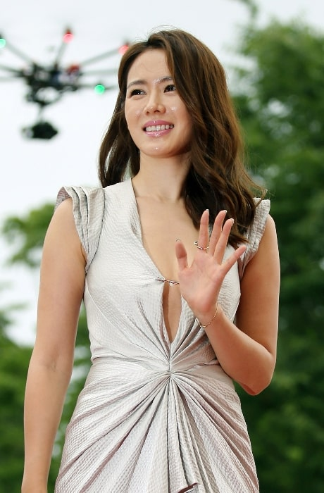 Son Ye-jin pictured while arriving at the red carpet event of the Pifan in Bucheon on July 17, 2014