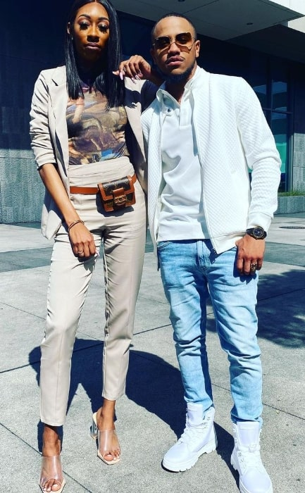 Tequan Richmond posing for a picture alongside Lala Milan in March 2020
