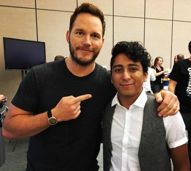 Tony Revolori (Right) and Chris Pratt at the 2016 San Diego Comic-Con International in San Diego, California