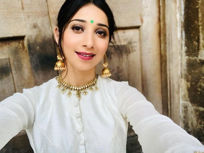 Vrushika Mehta as seen while taking a selfie in June 2020