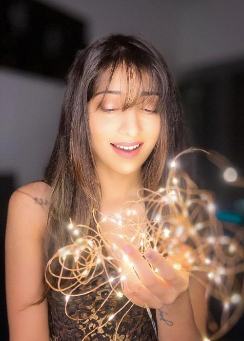 Vrushika Mehta posing for the camera in June 2020