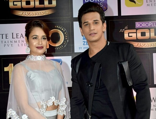 Yuvika Chaudhary and Prince Narula at Gold Awards 2017