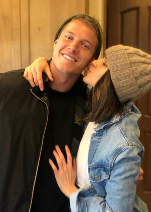 Christian McCaffrey and Olivia Culpo, as seen in May 2020