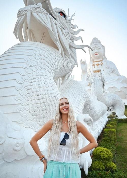 Christine Quinn smiling in Chiang Rai, Thailand in February 2020
