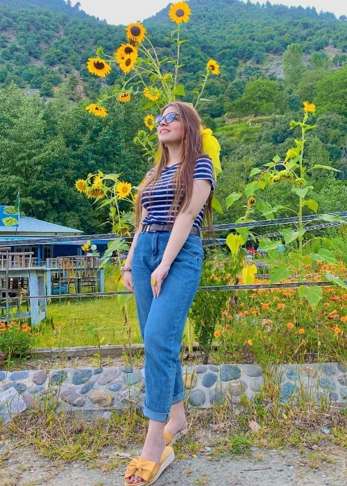 Dananeer Mobeen as seen while posing for the camera in Upper Dir, Khyber Pakhtunkhwa, Pakistan in October 2020