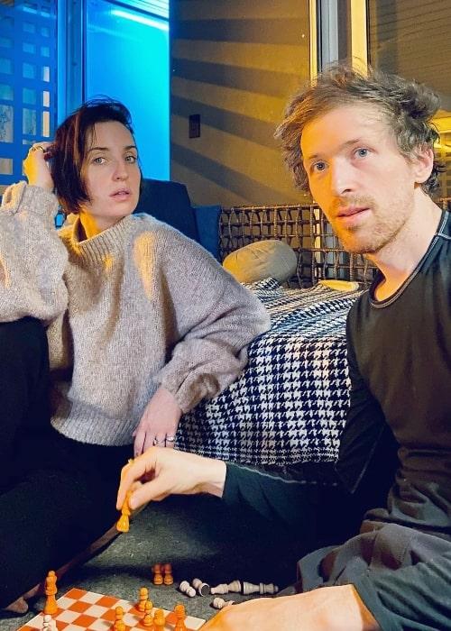 Daryl Wein clicking a selfie with Zoe Lister-Jones in December 2020