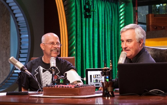 Dick DeBartolo (Left) and Leo Laporte pictured while recording 'The Daily Giz Wiz' podcast at the grand opening of the TWiT Brickhouse studio in Petaluma, California on July 24, 2011