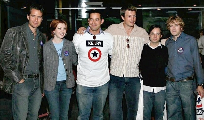 From Left to Right - Alexis Denisof, Alyson Hannigan, Nicholas Brendon, Nathan Fillion, Danny Strong, and Tom Lenk at a John Kerry fundraiser in October 2004
