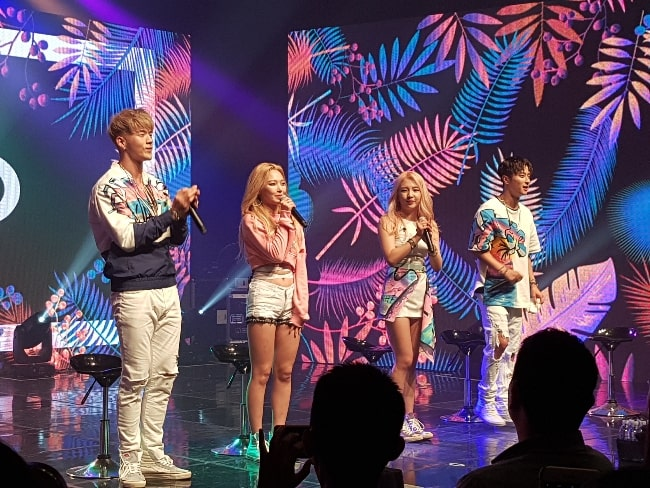 From Left to Right - BM, Somin, Jiwoo, and J.Seph. KARD members pictured while performing in their debut showcase in July 2017