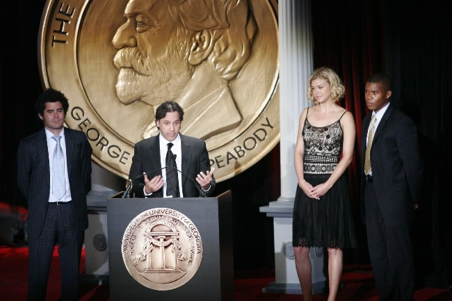 From Left to Right - Jeffrey Reiner, Jason Katims, Adrianne Palicki, and Gaius Charles at the 66th Annual Peabody Awards Luncheon at Waldorf=Astoria Hotel in New York, United States in 2007