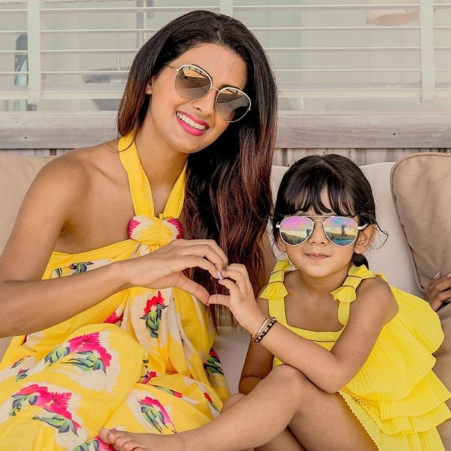 Geeta Basra and her daughter in May 2020