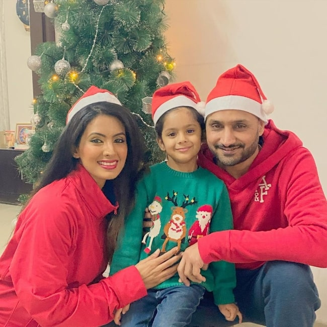 Geeta Basra posing for a picture with her family in Jalandhar, India in December 2020
