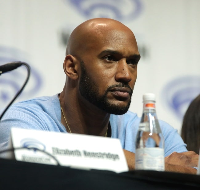 Henry Simmons as seen while speaking at the 2018 WonderCon, for 'Agents of S.H.I.E.L.D.', at the Anaheim Convention Center in Anaheim, California