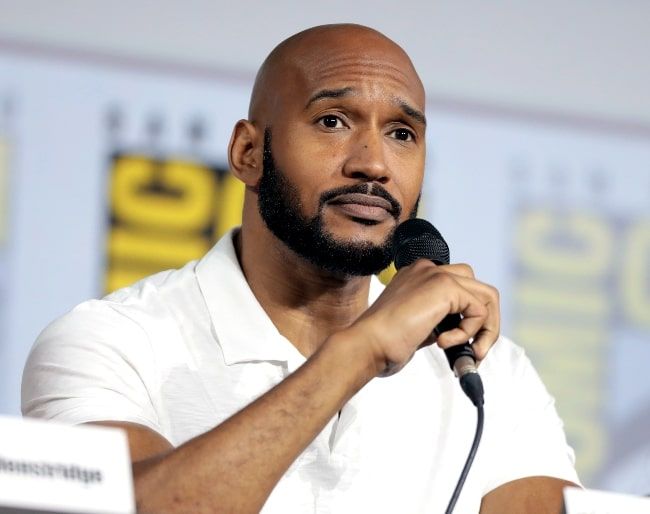 Henry Simmons speaking at the 2019 San Diego Comic Con International, for Marvel's 'Agents of S.H.I.E.L.D.', at the San Diego Convention Center in San Diego, California