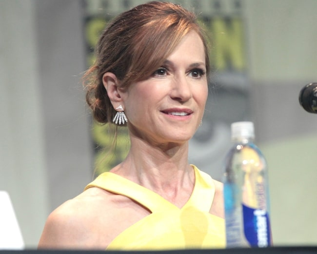 Holly Hunter pictured while speaking at the 2015 San Diego Comic Con International, for 'Batman v Superman Dawn of Justice', at the San Diego Convention Center in San Diego, California
