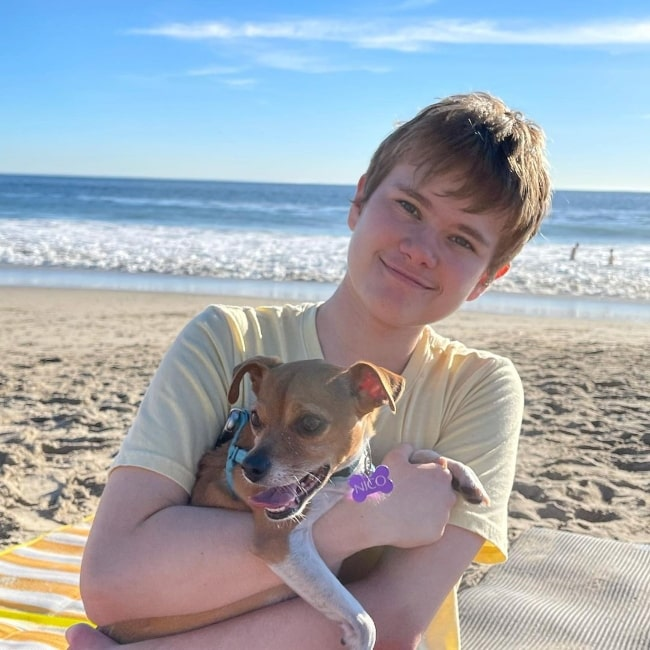 Isaiah Stannard and his dog Nico as seen while enjoying their time at Leo Carrillo State Beach in California in January 2021