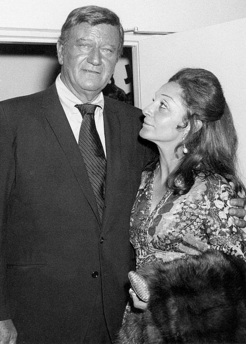 John Wayne and his 3rd wife Pilar Wayne at the John Wayne Theatre opening at Knott's Berry Farm in 1971