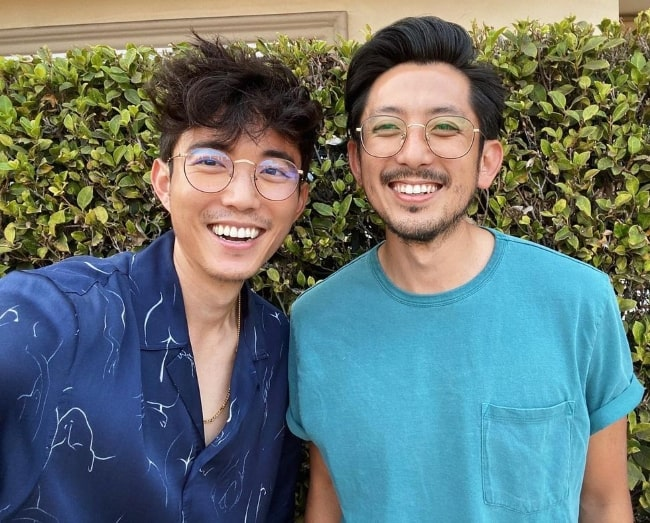 Justin H. Min (Left) as seen while taking a selfie along with Jason Min in September 2020