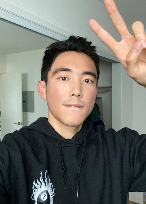 Justin H. Min as seen in a selfie in Los Angeles, California in January 2021