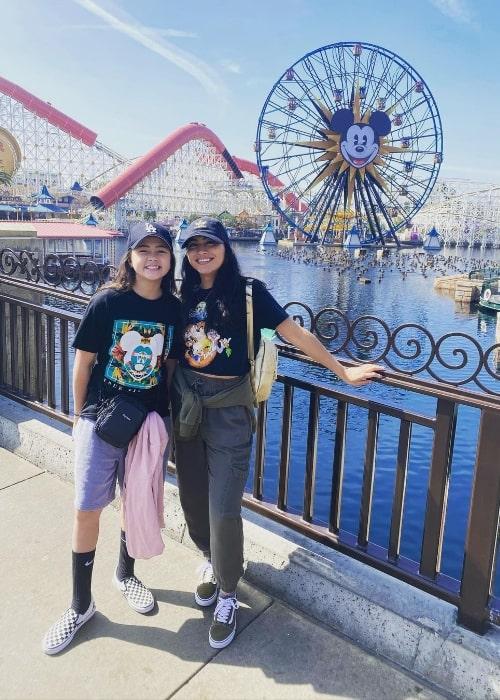 Kea Peahu (Left) and Lindsay Watson at Disney California Adventure Park in March 2020