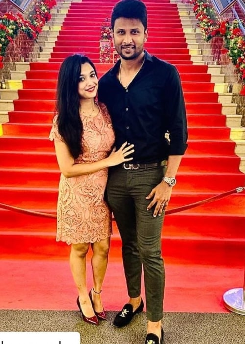 Krishnappa Gowtham as seen in a picture with his beau Archana Ssundar in December 2020
