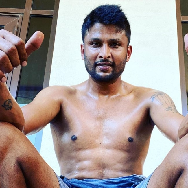Krishnappa Gowtham as seen in a shirtless picture that was taken in September 2020