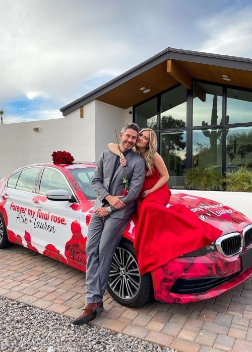 Lauren Burnham Luyendyk and her beau racing driver Arie Luyendyk in a picture that was taken in February 2021 in Scottsdale, Arizona