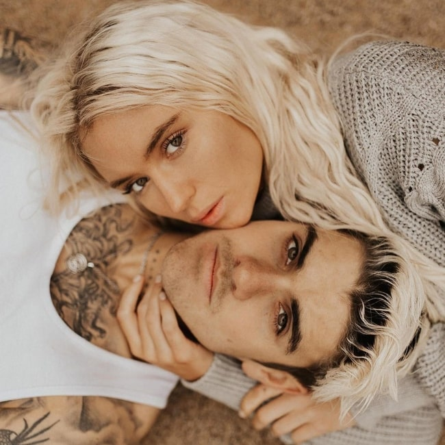 Lucie Donlan as seen in a picture that was taken with her beau heating engineer and social media influencer Luke Mabbott in January 2021