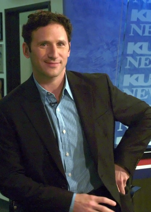 Mark Feuerstein at a television station waiting to be interviewed about his new movie 'Defiance'