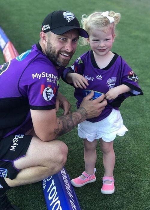 Matthew Wade with his daughter Winter, as seen in December 2018