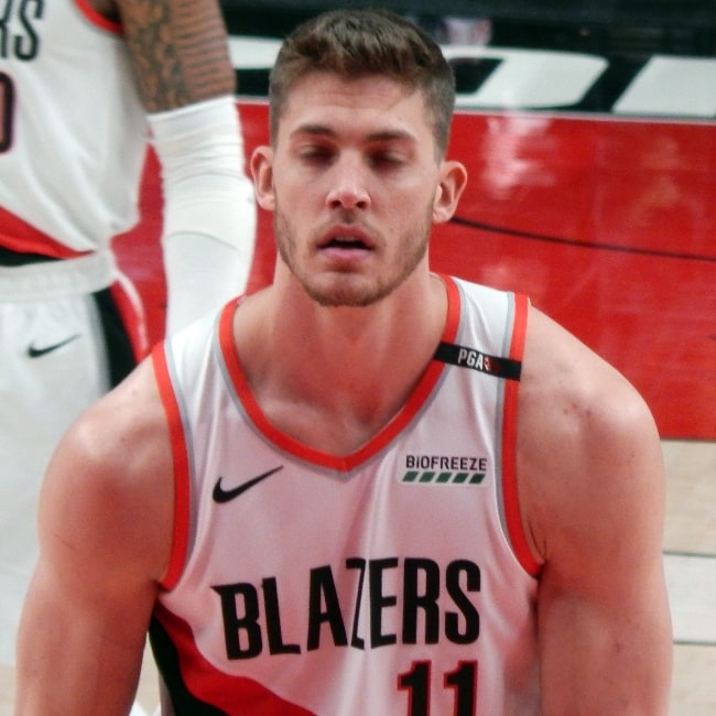 Meyers Leonard of the Portland Trail Blazers pictured during a match against the Cleveland Cavaliers on January 16, 2019, at Moda Center in Portland, Oregon